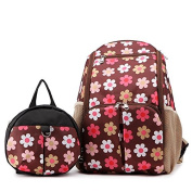 Babyhugs® 3pcs Ultra Light Nappy Changing Nappy Backpack Rucksack Bag with Toddler Safety Harness Backpack - Brown Flowers