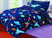 Love2Sleep COT BED DUVET COVER WITH PILLOWCASE- SUPERIOR NATURAL COTTON RICH 120 X 150 CM - BLAST OFF
