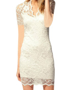 CRAVOG Women's Sexy V-neck Short Sleeve Lace Bodycon Stretch Casual Party Mini Dress