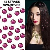 Promo Kit 48 Fuchsia Rhinestone Wedding Jewellery. 4 mm (Diameter). 48 Collar. Crystal Rhinestone Hair Tattoos 4 Sheets provided) Professional Quality Ultra. Separables Tabs. Cold without Heat. Fit Inside Crystal Barber Hair One by One.