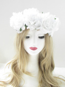 Large White Rose Flower Headband Hair Crown Garland Boho Festival Floral Vtg 46 *EXCLUSIVELY SOLD BY STARCROSSED BEAUTY*