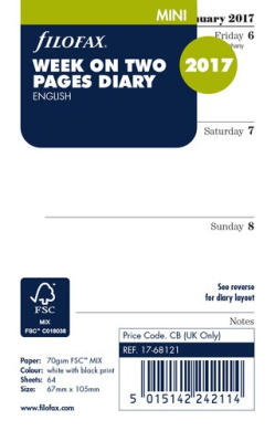 Filofax Mini Refill Week on two pages English 2017
