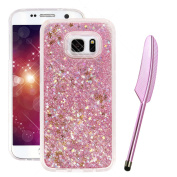 Galaxy S7 Edge Case for Girls, Galaxy S7 Edge Liquid Case with SOFT Bumper, Vioela Samsung Galaxy S7 Edge Liquid Cover in Pink, Creative Novelty 3D Floating Liquid Sparkle Glitter Bling Stars Design Kawaii Shock Proof Clear Crystal Protective Back Cove ..