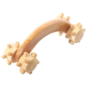 Wooden Hand Held 4-Wheel Body Back Massage Roller Massager Acupressure Tool