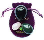 Yoni Eggs 3-pcs Set with 3 Sizes and 3 Gemstones, Drilled, with Unwaxed Thread & Instructions, Made of Nephrite Jade, Rose Quartz and Obsidian, for Yoni PC Muscles Massage to Gain Better Bladder Control, Polar Jade