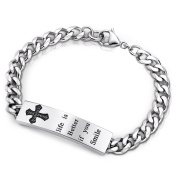Ashley Jewellery Engraved Tag Bracelet 316L Stainless Steel Cross Round Cubic Zirconia 19cm