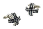 Crosses of Blue Crystals Cufflinks