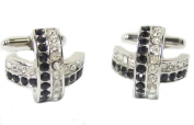 Crossed Black and White Crystal Cufflinks