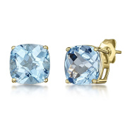 9ct Yellow Gold Earrings Chequerboard Cut Cushion Blue Topaz Stud Earrings
