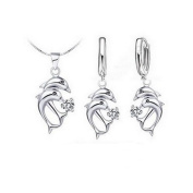 925 Sterling Silver White Crystal Dolphin Jewellery Set 4-piece Double