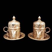 Two Ottoman Turkish Moroccan Bronze Brass Tea Coffee Cup Set