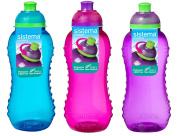 3 Sistema 300ml Twist n Sip Drink Bottles, Blue, Pink, Purple