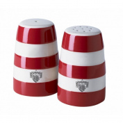 Cornishware Red and White Stripe Stoneware Salt and Pepper Shaker Set