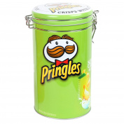 Pringles Green Cylinder Sealable Storage Tin Kitchen Biscuit Canister Container
