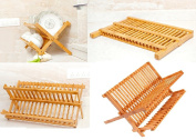 FOLDABLE DISH DOUBLE LAYERS DRAINER BAMBOO WOODEN KITCHEN SHELF RACK ACCESSORIES