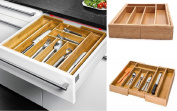 EXTENDING BAMBOO WOODEN CUTLERY TRAY ORGANISER KITCHEN EXPANDABLE STORAGE BOX