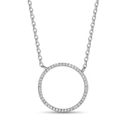 Woman Sterling Silver Circle Pendant Necklace Micro Pave AAA Zircon Platinum Adjustable 400mm Jewellery Gift