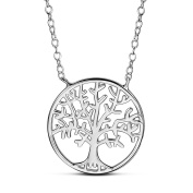 Woman Sterling Silver Tree Pendant Necklace Platinum Adjustable 400mm Jewellery Gift