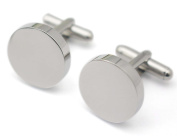 Plain Stainless Steel Cufflink Blanks Round Silver for Mens Fashion Shirt Accessory