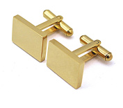 Real 18k Gold Plated 18*13mm Rectangle Stainless Steel CuffLinks in Men's Accessory