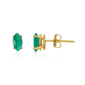 14k Yellow Gold Emerald Marquise Earrings