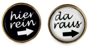 """Miss Lovie Women's Stud Earrings with German Saying """"Hier raus"""" purely as Cabochon Earrings-Black and White 12 MM, Bronze"""