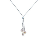 925 Sterling Silver Necklace with Cultured Freshwater Pearls and Topaz