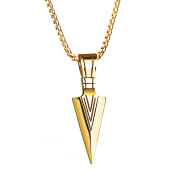 PAURO Mens Stainless Steel Jewellery Spear Point Arrowhead Pendant Necklace Gold/Silver