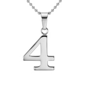HACOOL Solid 925 Sterling Silver Number 0-9 Character Unisex Men Pendant Necklace Jewellery