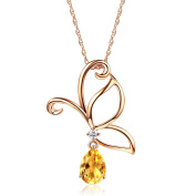 14K Rose Gold 2.5 Ct Citrine Butterfly Pendant Necklace 0.12 Ct Diamond