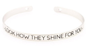 """Silver Plated Women Motivational Word """"LOOK HOW THEY SHINE FOR YOU"""" Wanderlust Bangle Bracelets"""