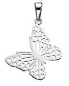 Fabulous Ornate Filigree Butterfly Pendant, Sterling Silver 925