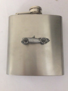 MG A ref126 pewter effect car emblem on 180ml Stainless Steel Hip Flask Captive Top