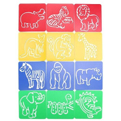 PhilMat 12PCS Animals Drawing Painting Template Graphics Animals Symbols Stencil Draught Ruler Toy Gift