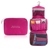 Portable Hanging Toiletry Bag, MoKo Travel Bag Toiletry Kit Organiser Cosmetic Makeup Bag with Sturdy Hanging Hook, Travel Kit Organiser With Mesh Pockets for Travel, Vacation, Household - MAGENTA