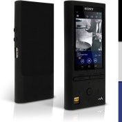 iGadgitz Black Silicone Skin Case Cover for Sony Walkman NW-ZX100 128GB High-Resolution Audio MP3 Player + Screen Protector