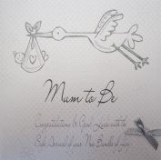 """White Cotton Cards Silver Stork """"Mum to Be Congratulations & Good Luck"""" Handmade Mum to Be Card"""