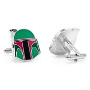 Star Wars Cufflinks - Plated Boba Fett Helmet Cuff Links - Men's Shirt Accessory in Gift Box