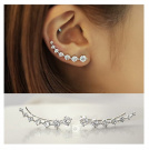 Elensan1 7 Crystals Ear Cuffs Hoop Climber S925 Sterling Silver Earrings Hypoallergenic Earring