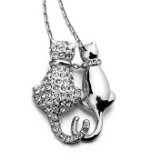 ZIZI Silver ~ Snuggling Cats Pendant Necklace ~ Austrian Crystal ~ 18K Gold Plated