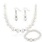 Bluelans® Women's Wedding Jewellery Sets 3 Pieces, Fashion Faux Pearls Bride Earrings & Pendant Necklace & Bracelet