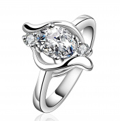HMILYDYK Beautiful Jewellery Classic Crystal Teardrop 925 Sterling Silver Plated Ring Best Gift