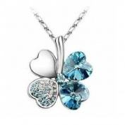 . Elements Crystal Four Leaf Clover Pendant Necklace 46cm Aquamarine Blue