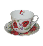 Roy Kirkham Jumbo Breakfast Cup and Saucer in Poppy Design - 01243