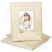 Set of 3 Unfinished Solid Wood Photo Picture Frames 10cm x 15cm , Ready to Paint for DIY Projects