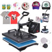 Mophorn Heat Press 8 in 1 Multifunction Sublimation Heat Press Machine Desktop Iron Baseball Hat Press 1400W Digital Swing Away Transfer T Shirt Hat Mug