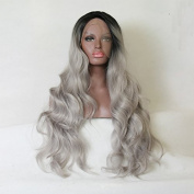 Kylie Jenner Heat Resistant Fibre Hair body wave ombre black to grey colour dark root Synthetic lace front wig for African American black and white women women.