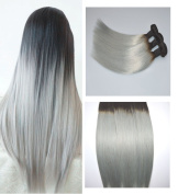BeautyMiss 300g Per Set 30cm - 70cm 100% Human Remy Hair Weave 1B/Silver Grey Two Tone OMBRE Human Hair Extensions Silky Straight Hair 3 Pieces