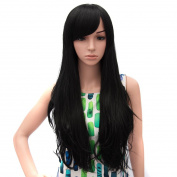 Icoser® Sexy Women Black Hair Wig Synthetic Long Curly Wigs Cosplay Costume and a Wig Cap Black and a Hair Comb