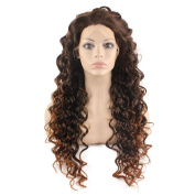 Mxangel Long Curly Lace Front Synthetic Hair Auburn Tip Brown Celebrity Natural . Wig